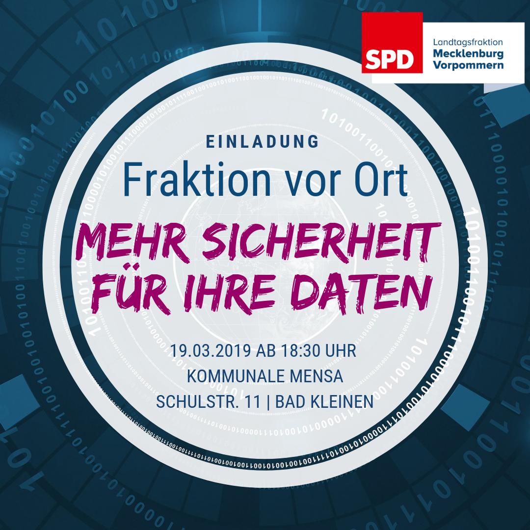 Einladung Fraktion vor Ort - Mehr Sicherheit für Ihre Daten am 19.3.2019 18:30 in Bad Kleinen