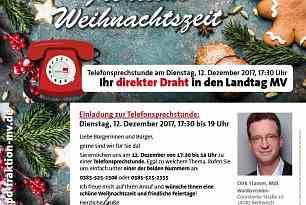 Einladung zur Telefonsprechstunde – Ihr direkter Draht in den Landtag MV