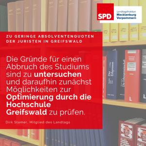 geringe Absolventenquote Juristen in Greifswald