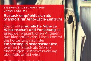 Rostock empfiehlt sich als Standort für Arno-Esch-Zentrum