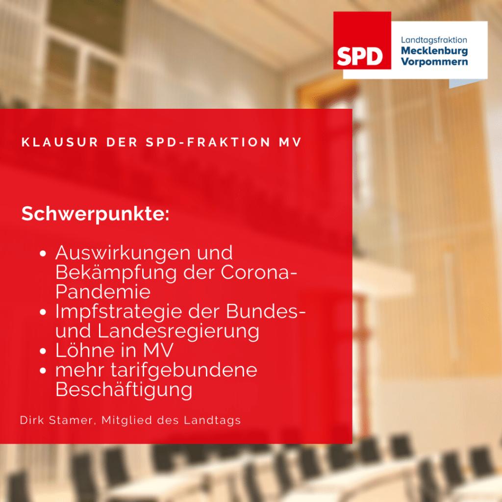 Schwerpunkte der Winterklausur der SPD-Fraktion MV